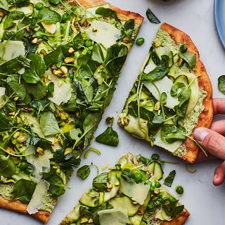 White Pizza with Shaved Vegetables and Pesto recipe | Epicurious.com.