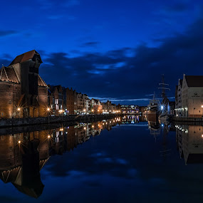 The Crane by David Guest - Landscapes Waterscapes ( water, gdansk, night, crane, poland )