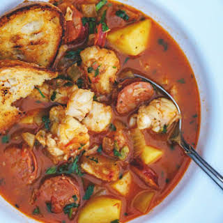 Spicy Fish Stew with Saffron and Linguiça.