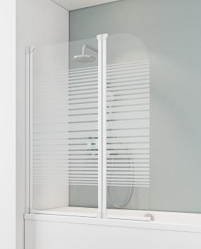 """Badewannenfaltwand 2-tlg., 1150x1400 mm, Alpinweiß, Sicherheitsglas (ESG), Dekor """"Querstreifen"""""""