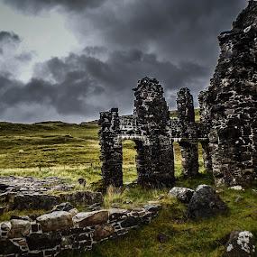 Calda House by Morag Soszka - Landscapes Mountains & Hills ( scotland, ardvreck castle, sutherland, calda house, lochinver, scottish landscape, ruins, castle )