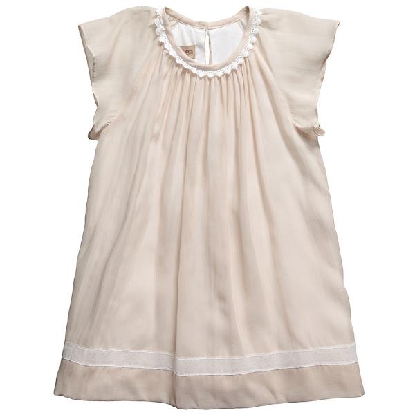 Photo: Hucklebones London   Grey-Beige Cotton Frilly Sleeve Dress with Lace Edging http://www.childrensalon.com/grey-fluttersleeve-dress.html  Price: £64.00 Size range: 2-10 year
