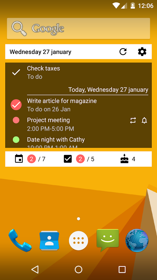 Calendar Widget What and When- screenshot