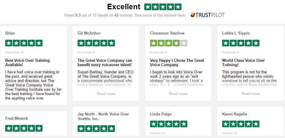 Great Voice Trust Pilot Reviews