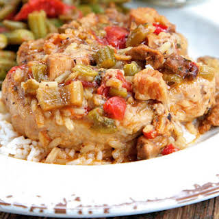 Slow Cooker Gumbo Smothered Pork Chop.