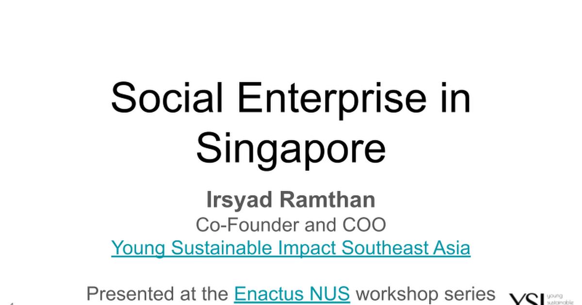The Singapore Social Enterprise Landscape