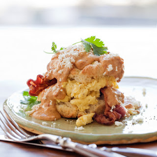 Green Chile, Parmesan and Black Pepper Buttermilk Biscuits with Chorizo & Chipotle Gravy