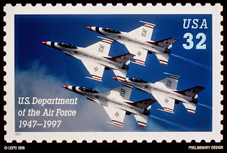 Photo: 961205-D-0000P-001The U.S. Postal Service honored the Air Force during a Pentagon ceremony on Dec. 5, 1996, to unveil the design of the first-ever commemorative postage stamp highlighting the nation's youngest military service.  The stamp recognizes the Air Force's 50 years as the world's premier air and space force.  ?The stamp is an image of the U.S. Air Force Thunderbirds flying the F-16 Fighting Falcon.  The Thunderbirds perform precision aerial maneuvers at air shows throughout the world to demonstrate the capabilities of Air Force high performance aircraft. ?The Postal Service will issue and begin selling the stamp on Sept. 18,