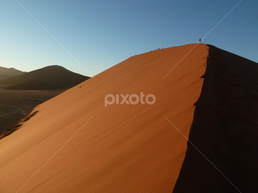 Sossuvlei Dunes by Leigh Thomson - Landscapes Deserts ( sossusvlei, sand, dunes, namib, desert, red, travel, africa, landscape, namibia )