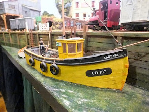 Photo: 008 Back to Crackington Quay where we see this splendid fishing vessel, which was scratchbuilt by Roy Parkes from cardboard and balsa using only a photo as reference, tied up at the quayside .