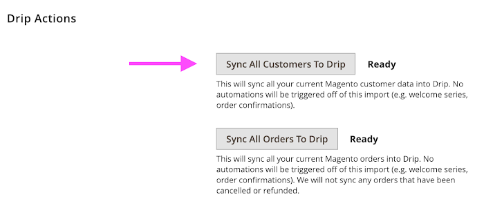 Drip Actions (sync customers).