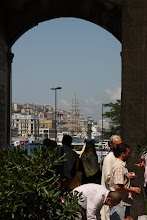 Photo: Day 115 -  Arch in the Courtyard of The Yeni Mosque, with View of Tall Ship in Background
