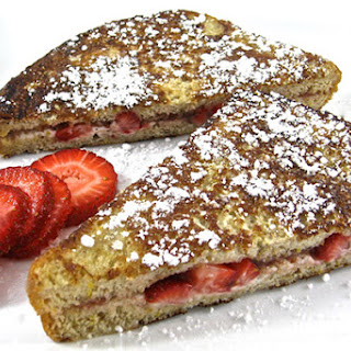 Skinny Strawberries and Cream Stuffed French Toast.