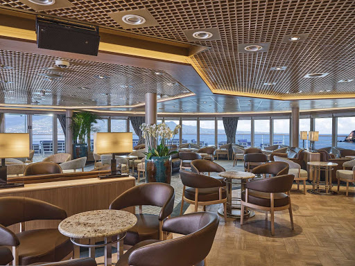 The Panorama Lounge on Silver Moon features a circular bar, DJ booth, dance floor and lots of inside and outside seating.