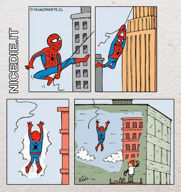 l'uomo ragno circola per la città volteggiando con la ragnatele, poi sbatte contro un palazzo dove avevano fatto un disegno molto realistico di un cielo azzurro