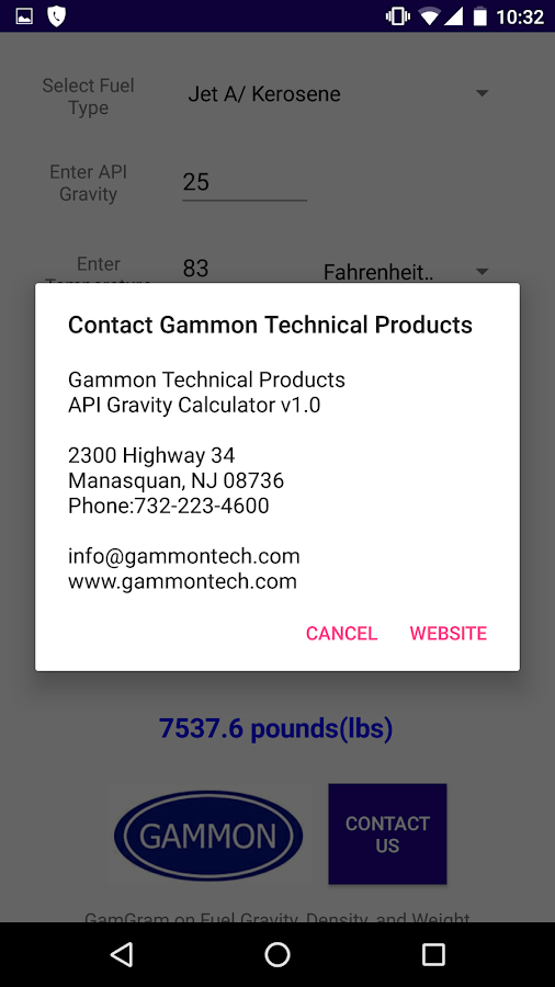 GTP API Gravity Calculator- screenshot