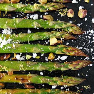 Roasted Asparagus with Lemon, Feta, and Pistachios Recipe