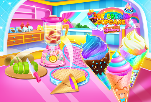 Mermaid Glitter Cupcake Chef - Ice Cream Cone Game 1.0 screenshots 2