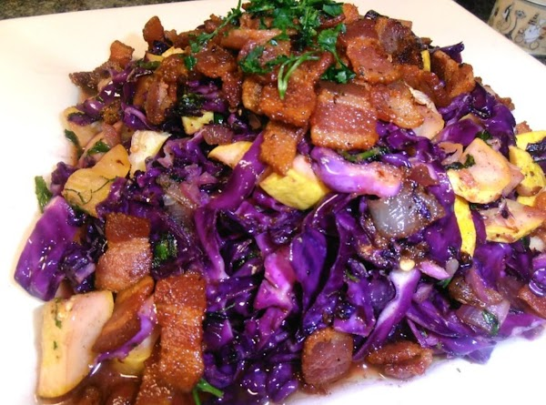 on a large platter add you veggie medley and top with crisy bacon. ...