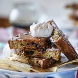 Irish Soda Bread French Toast with Whiskey Syrup and Whipped Cream.