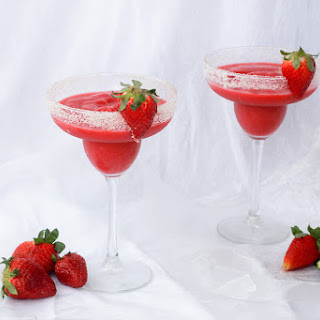 Frozen Strawberry Rhubarb Margaritas.