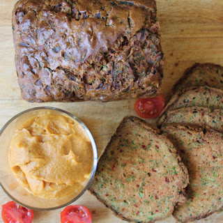 Courgette, Carrot and Turmeric Bread with Sweet Potato Hummus