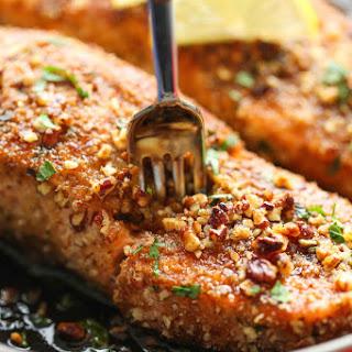 Pecan Crusted Salmon with Lemon Glaze.