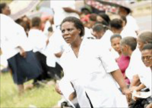 ANGRY: Fired nurses from Prince Mshiyeni Hospital ask unions for help. Pic. Mandla Mkhize. © Sowetan.
