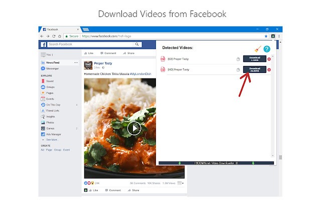 chrome download video facebook