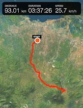 Photo: De mi casa en Yakarta a Cibodas, desde donde se empieza a subir Pangrango, hay 93 kilómetros que hice en moto.