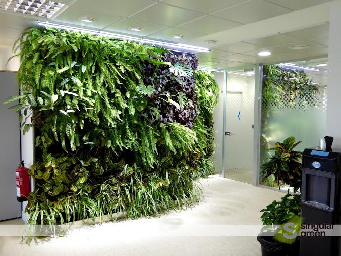 Conjunto de jardines verticales de interior para oficinas for Jardin artificial interior