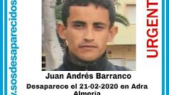 Cartel distribuido con la imagen de Juan Andrés.