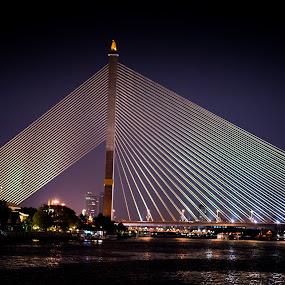 Bangkok by Richard Ryan - Buildings & Architecture Bridges & Suspended Structures ( bangkok, night, bridge, suspended,  )