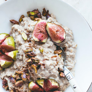 Hazelnut Oatmeal with Caramelized Pistachios and Figs.