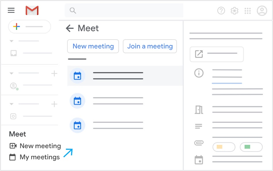 Join or start a meeting from Gmail