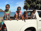 An encounter with Marquesan children, all happy to pose. Photo by Clark Norton