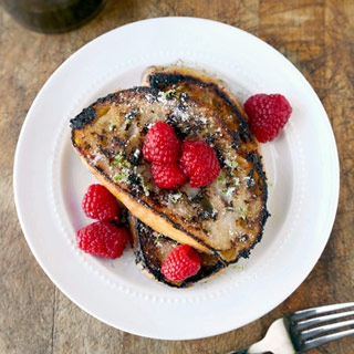 Coconut French Toast with Smashed Raspberries
