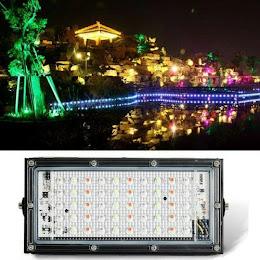 Proiector exterior cu lumina alba si RGB, 50 LED, 50W, telecomanda