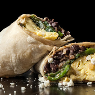 Vegetarian Black Bean Breakfast Burritos.