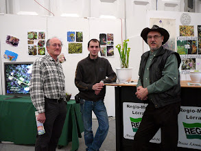 Photo: Special CP-exhibition at the Regio-Messe 2010. Dr. Alfred Jäger, former GFP-chairman, Carsten Paul, the present GFP-chairman, and Siggi at the info-corner.