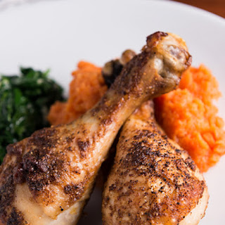 Chicken Drumsticks with Sweet Potato Mash and Sautéed Spinach