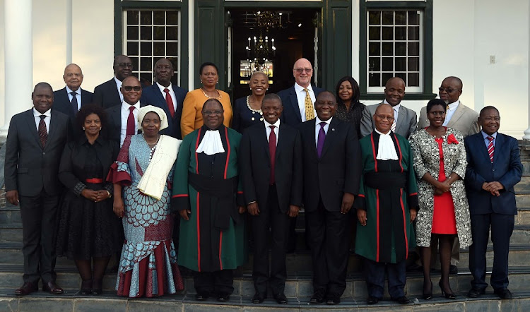 The new cabinet ministers following their swearing in at the Tuynhuis, in Cape Town. Picture: GCIS