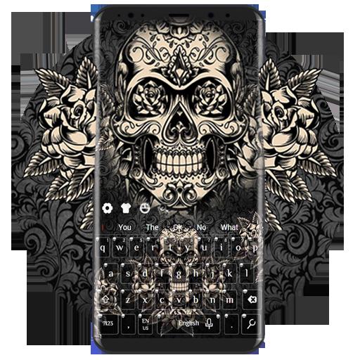 Black Rose Skull Keyboard