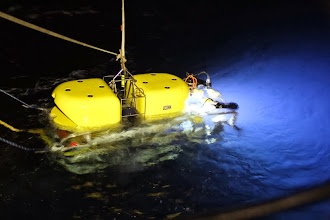 Photo: Nighttime recovery of NURTEC's Kraken2 ROV (Photo credit: Deepwater Canyons 2012 Expedition, NOAA-OER/BOEM)