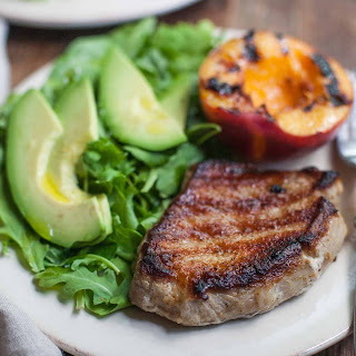 Grilled Pork Chops and Peaches