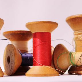 by K Dawn McDonald - Artistic Objects Other Objects ( red, wooden, blue, green, colors, thread, black, spools )