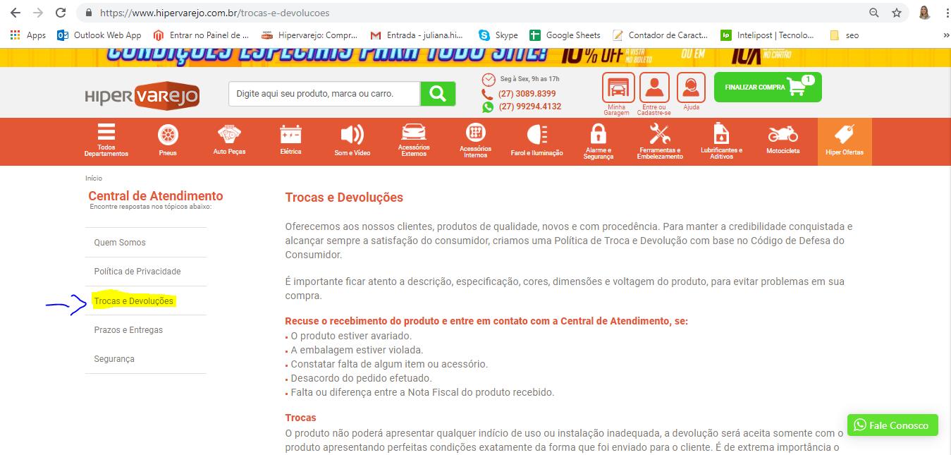 Trocas e Devoluções. Via: Hipervarejo.com.br
