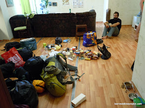 Photo: Organizing gear in Georgy and Yulia's apartment