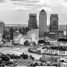 City by Alexandre Rios - Buildings & Architecture Office Buildings & Hotels ( london, city, cityscapes, sites, picture, picoftheday, bestoftheday, canary wharf, daylight, uk, buildings, photographer, black and white, river, skyscrapers, europe, photography )