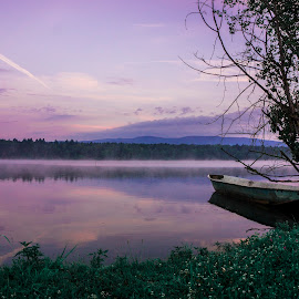 mystical lake by Jernej Lipovec - Landscapes Waterscapes ( sony, water, mystical, fog, slovenia, lake, morning, early )